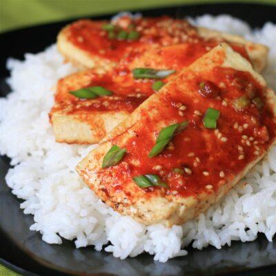 Запеченный сыр Тофу с острым соусом - рецепт с фото