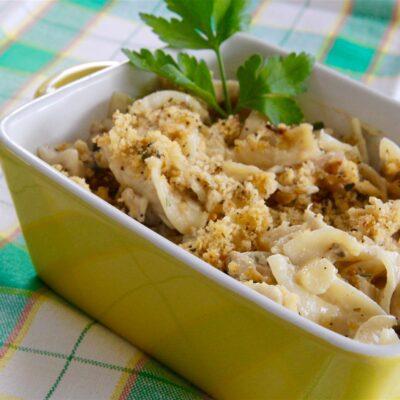Запеканка из макарон с тунцом - рецепт с фото