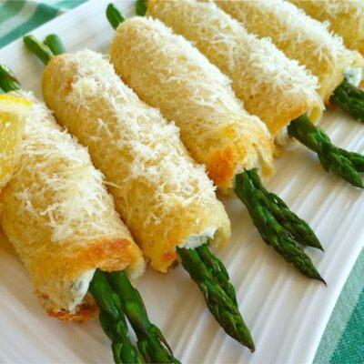Спаржа с сыром в булочках - рецепт с фото