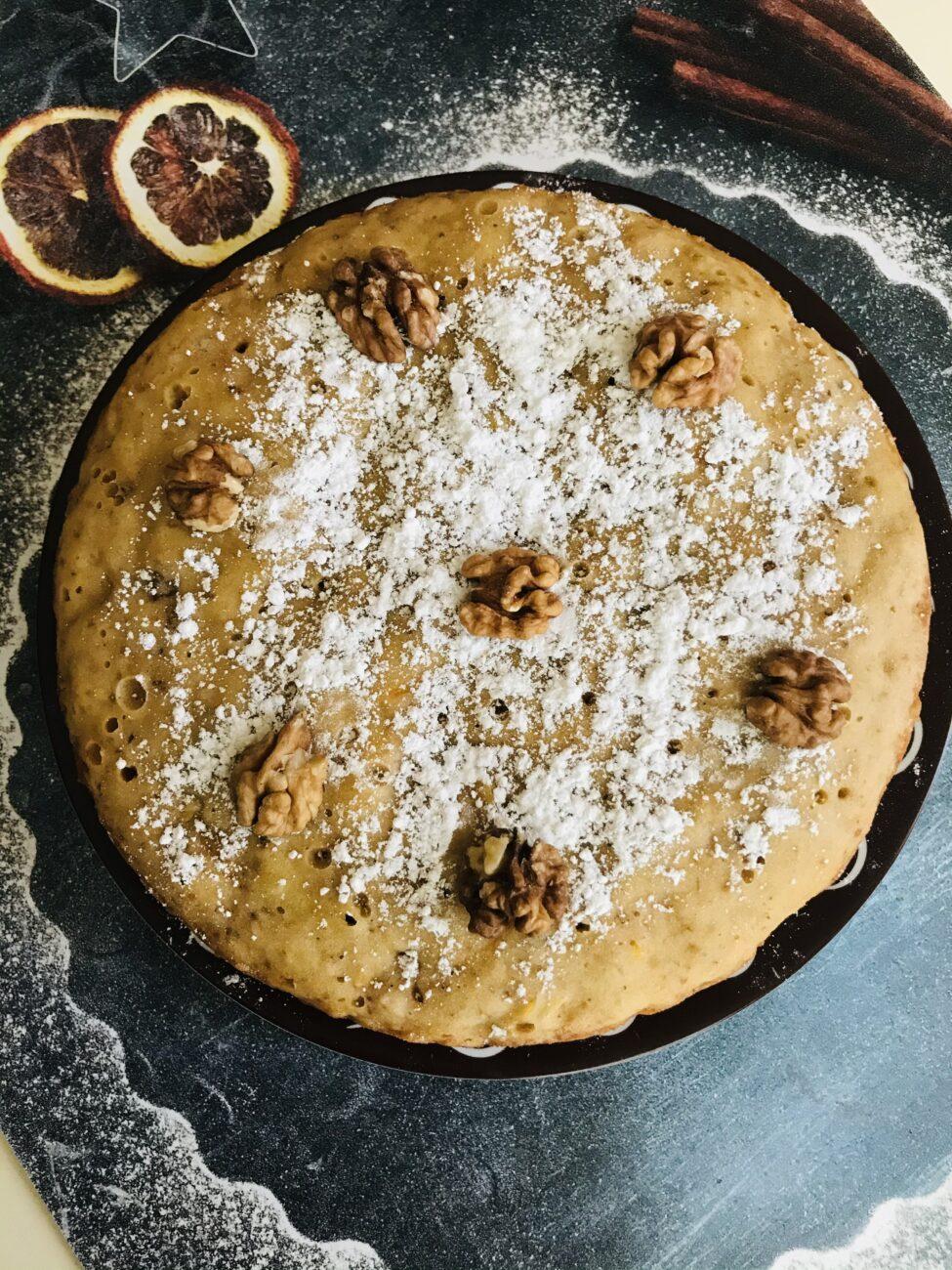 Мандариновый кекс с орехами в мультиварке