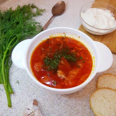 Борщ без заморочек на мясном бульоне - рецепт с фото