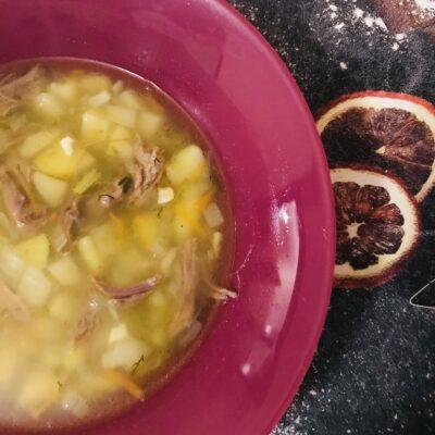 Суп на говяжьем бульоне  картофелем - рецепт с фото
