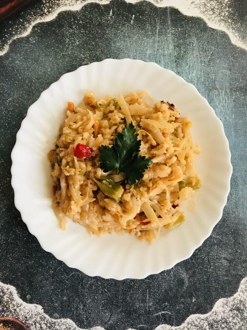 Тушеные овощи с рисом и сметаной