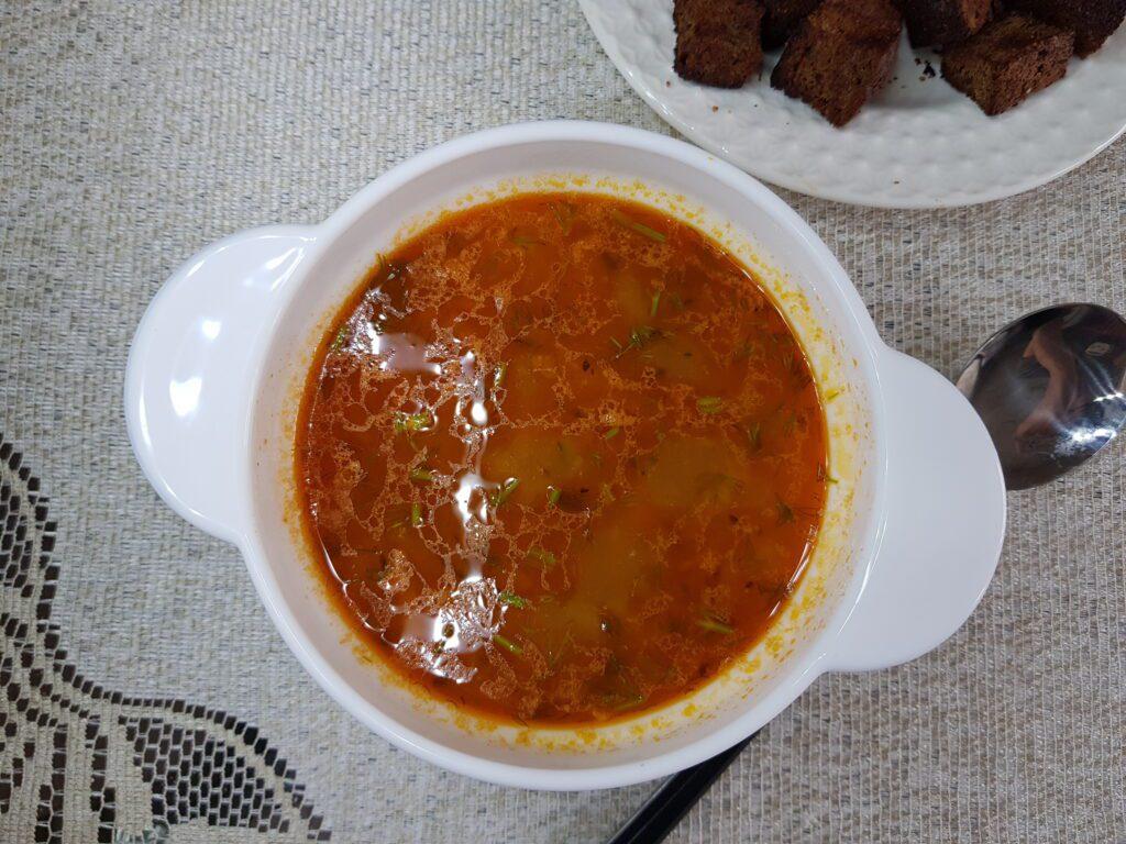 Фото рецепта - Рассольник с маринованными огурцами и рисом - шаг 10