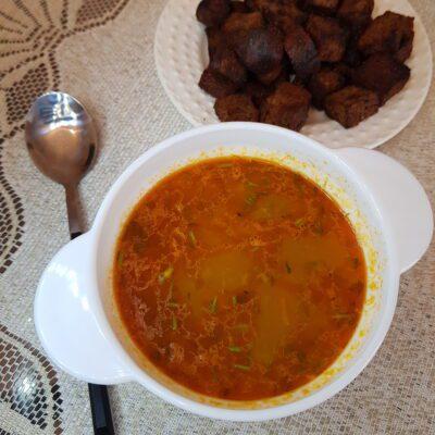 Рассольник с маринованными огурцами и рисом - рецепт с фото