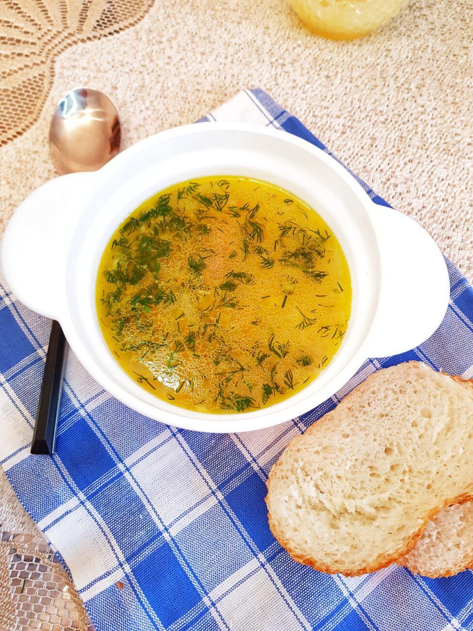 Кубанский суп с пшеном и копчёной колбасой