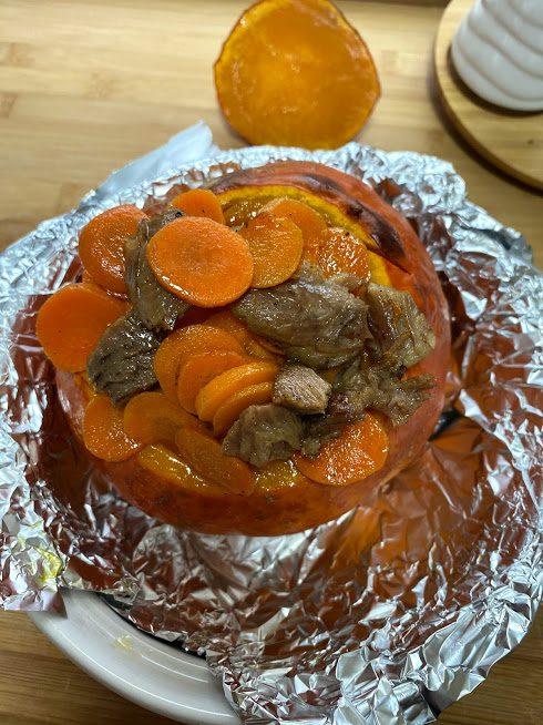 Фото рецепта - Рагу из индейки в тыкве - шаг 10