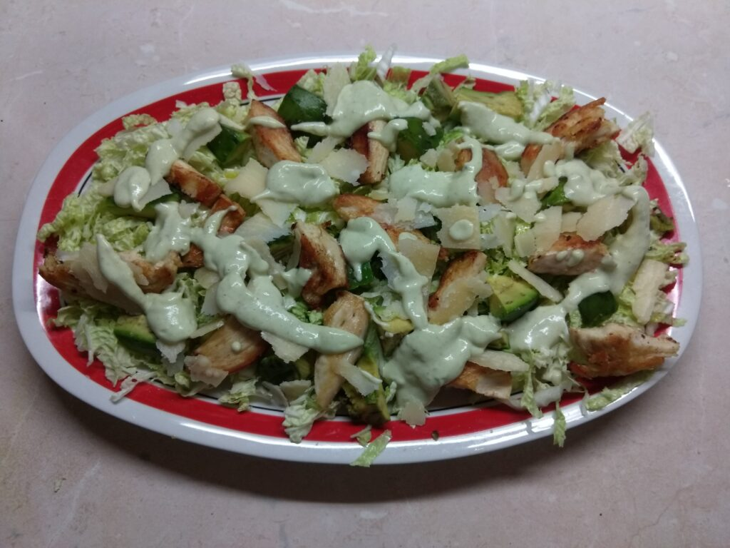 Фото рецепта - Салат с пекинской капустой, курицей, пармезаном и авокадо - шаг 5