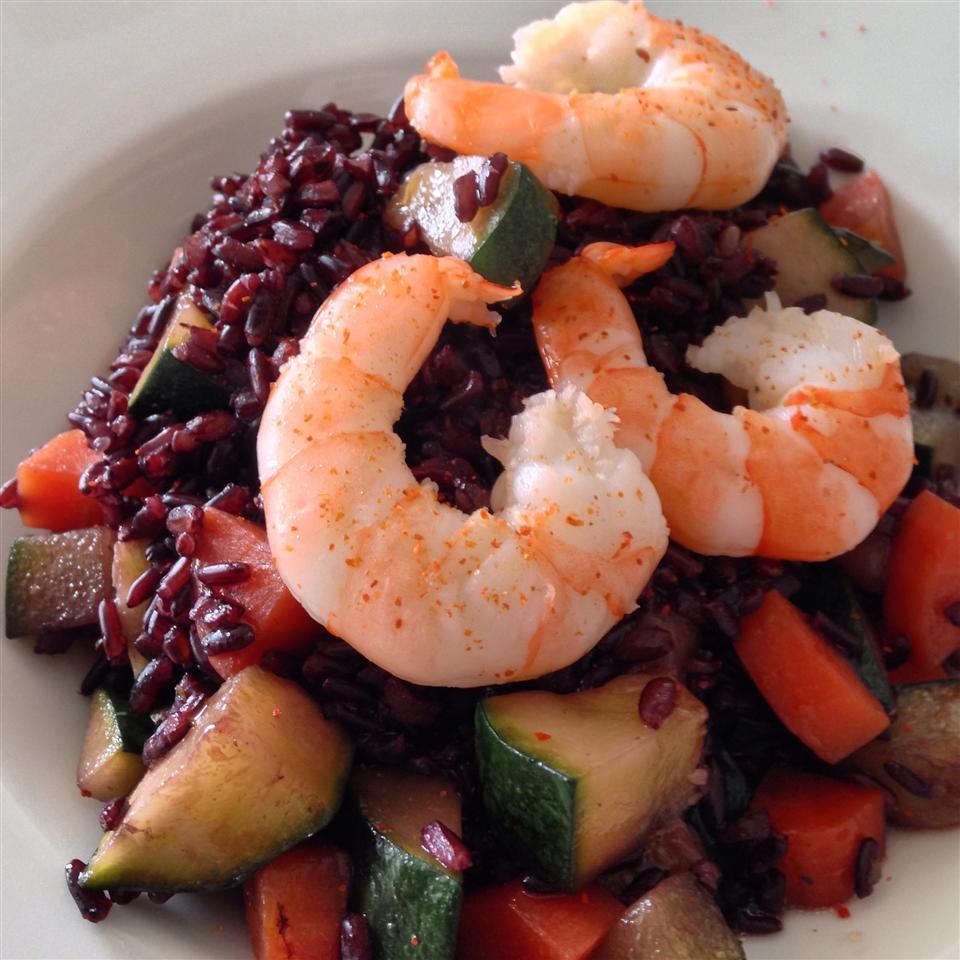 Рис с кабачками и креветками