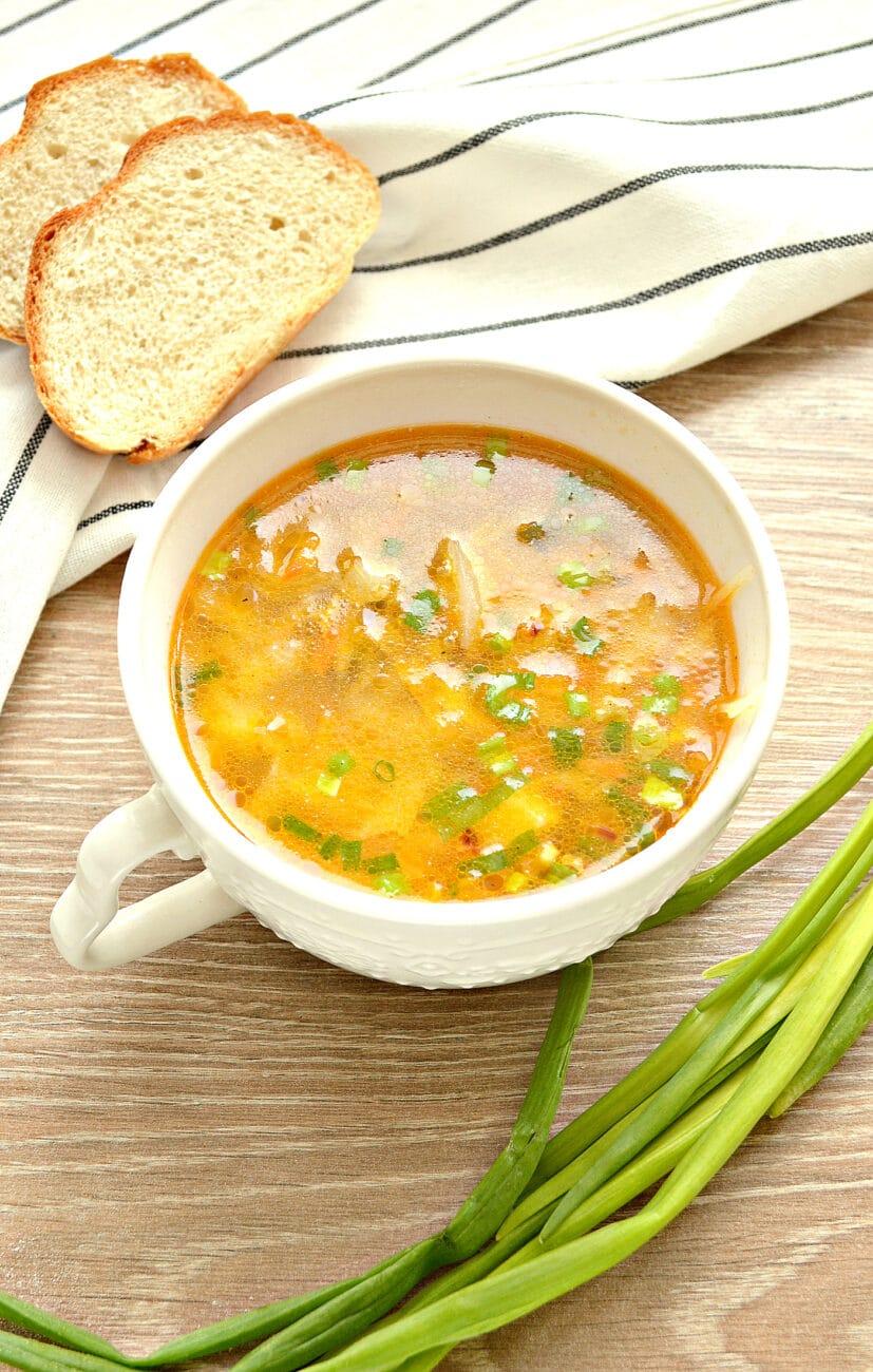 Суп с капустой и малосольными огурчиками