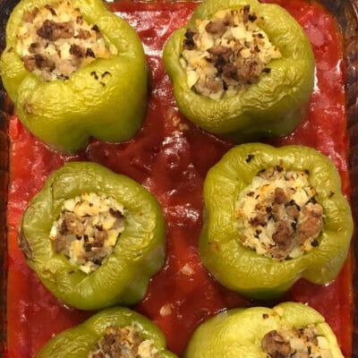 Запеченный фаршированный болгарский перец по-гречески - рецепт с фото