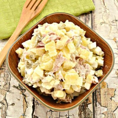 Картофельный салат со свининой и огурцами - рецепт с фото