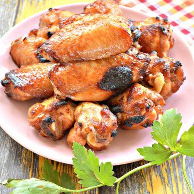 Куриные крылышки с румяной корочкой в сковороде гриль-газ - рецепт с фото