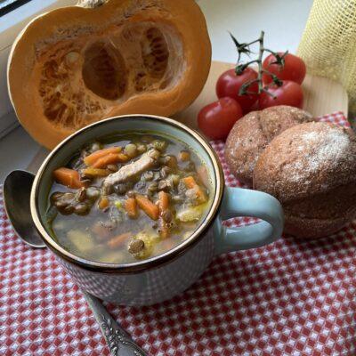 Густой суп из чечевицы и индейки - рецепт с фото