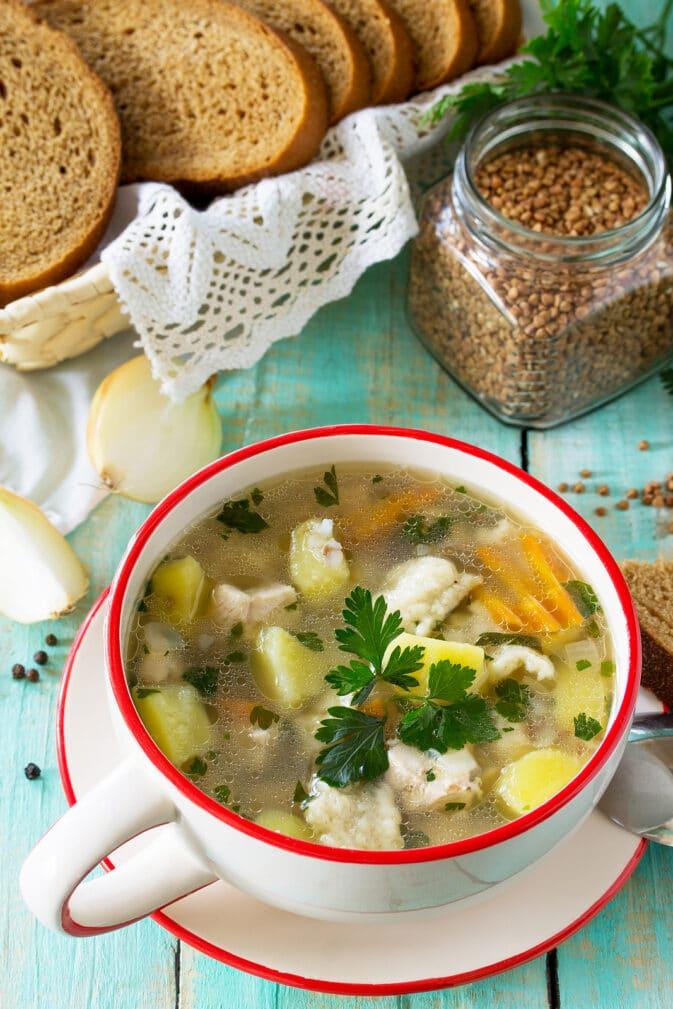 Фото рецепта - Гречневый суп с клёцками - шаг 7