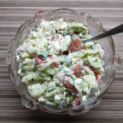 Салат из свежих овощей с брынзой - рецепт с фото