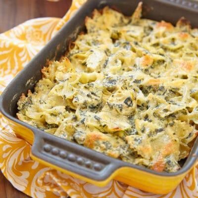 Запеченная паста с сыром и шпинатом