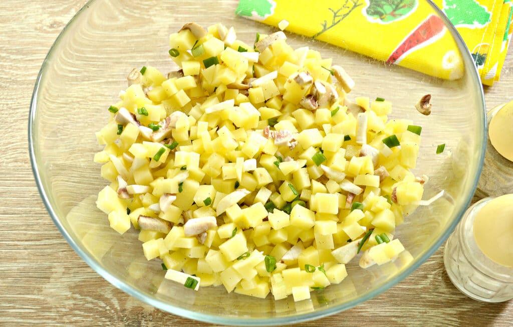 Фото рецепта - Картофельный пирог с грибами (тесто на кефире) - шаг 4