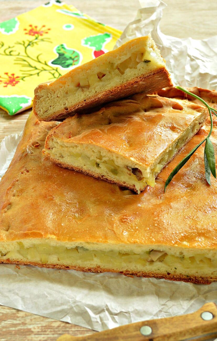 Картофельный пирог с грибами (тесто на кефире)