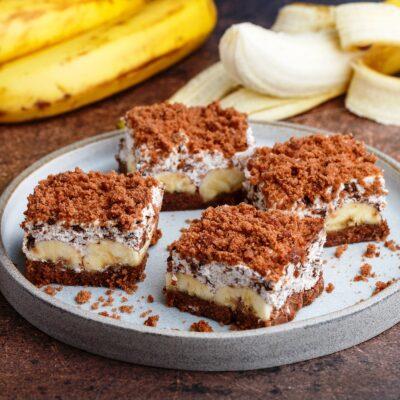 Брауни с сыром и бананом