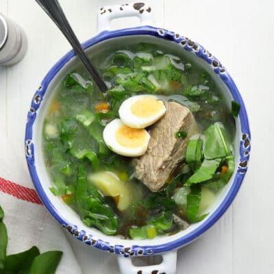 Щавелевый суп с яйцом (зеленый борщ)
