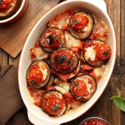 Запеченные баклажаны с томатами и перцем - рецепт с фото