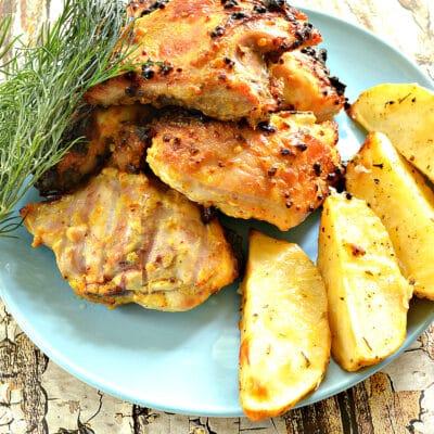 Куриные бедра в сметано-горчичном маринаде на сковороде гриль-газ - рецепт с фото
