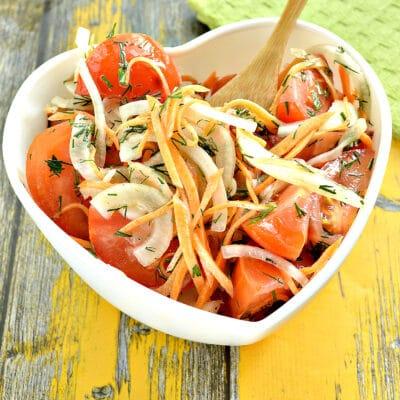 Пикантная закуска из помидоров с зеленью и морковью - рецепт с фото