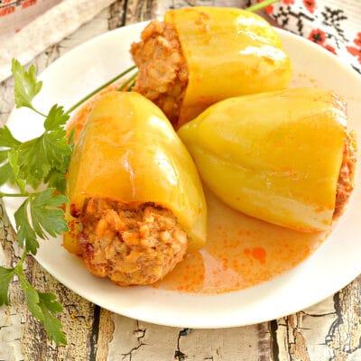 Перцы фаршированные, в томатной заливке - рецепт с фото