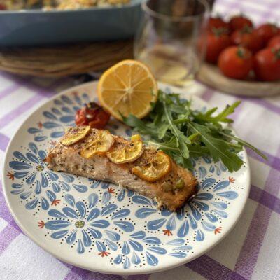 Филе семги с овощами - рецепт с фото
