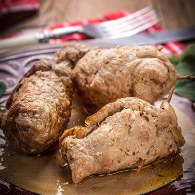 Крученики из свинины с грушей