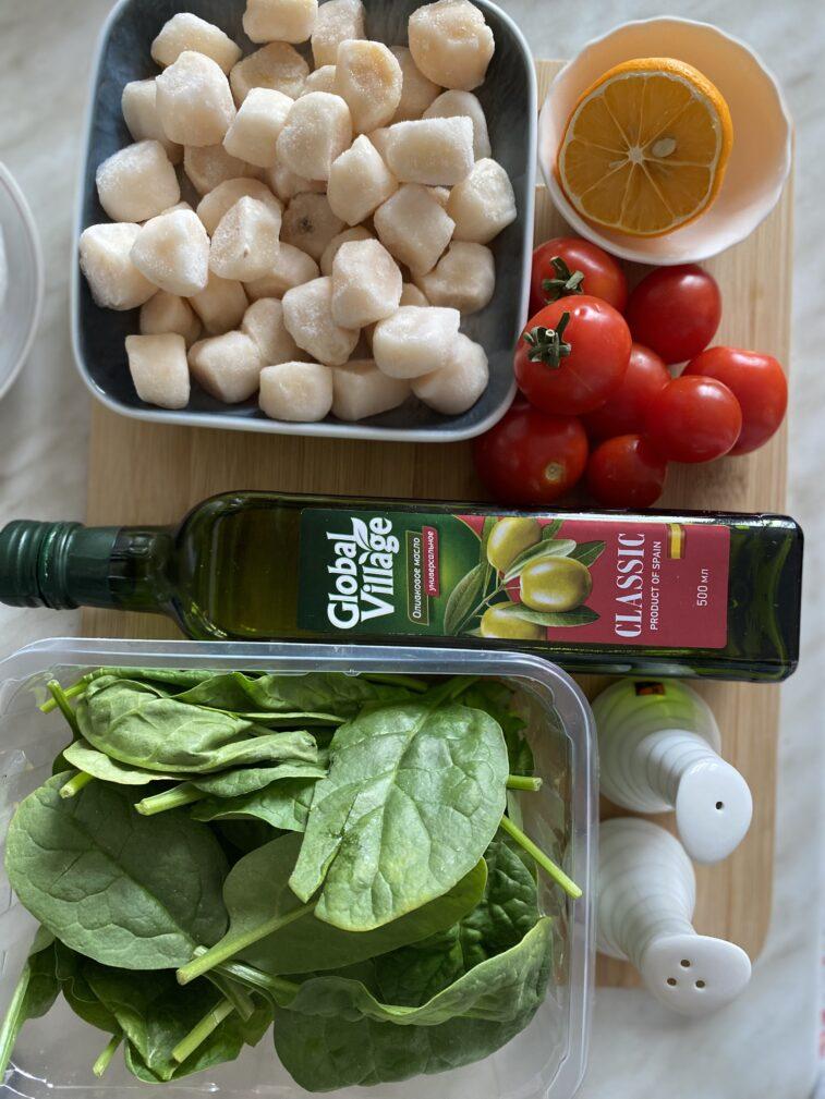 Фото рецепта - Паста с морскими гребешками и шпинатом - шаг 1