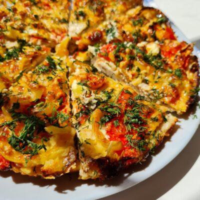 Пицца из куриного фарша с овощами - рецепт с фото