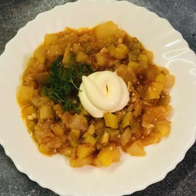 Овощное рагу из кабачков, патиссонов и баклажанов - рецепт с фото