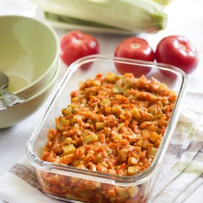 Рагу из кабачков с морковью и помидорами