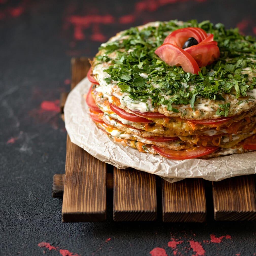Фото рецепта - Торт из кабачков с помидорами - шаг 8
