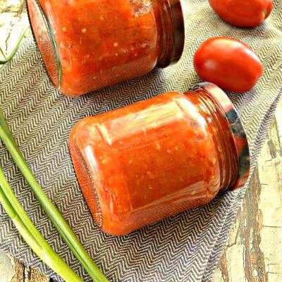 Кабачковая аджика с помидорами и перцем - рецепт с фото
