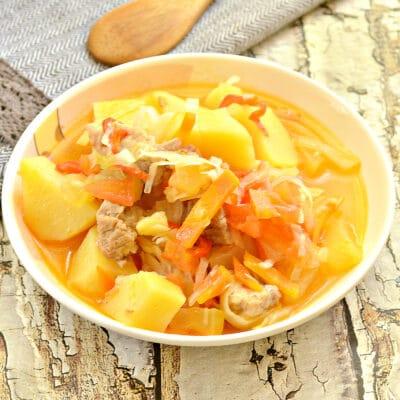 Овощное рагу со свининой, капустой и кабачками - рецепт с фото