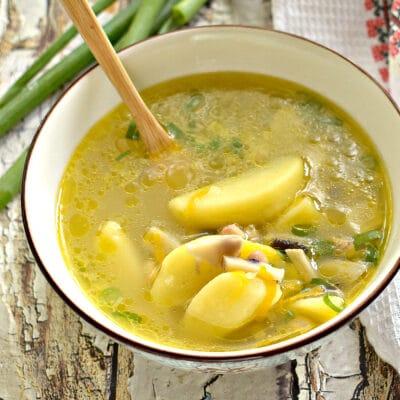 Картофельный суп с фасолью и грибами - рецепт с фото