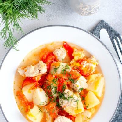 Куриное филе, тушеное с овощами - рецепт с фото