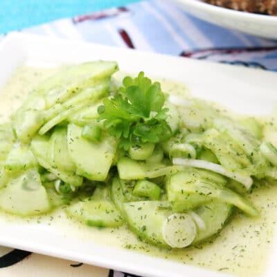 Салат из огурцов с зеленью - рецепт с фото