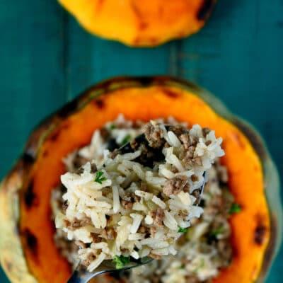 Запеченная фаршированная тыква рисом и фаршем - рецепт с фото
