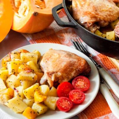 Запеченные куриные бедра и ножки с овощами - рецепт с фото