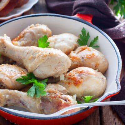 Жаренные куриные голени с чесноком