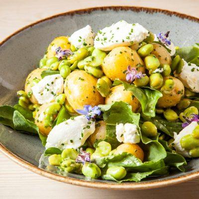 Картофельный салат с щавелем и козьим сыром - рецепт с фото