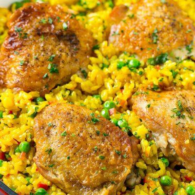 Испанский рис с куриным бедром - рецепт с фото
