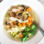 Куриный грибной суп с лапшой и сельдереем