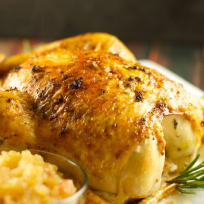 Петух (курица), запеченный с яблочным соусом - рецепт с фото