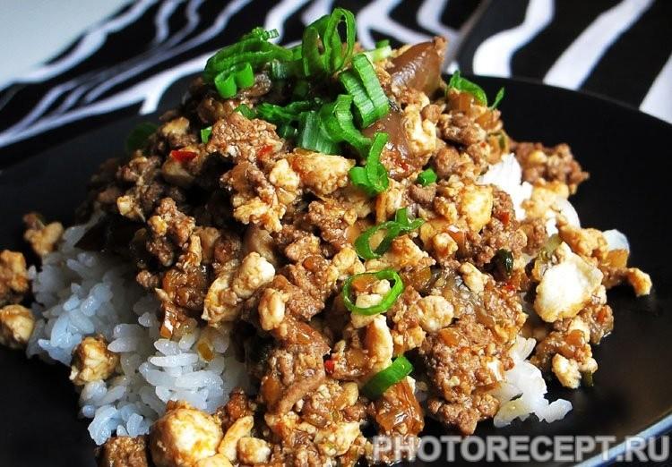 Фарш с баклажанами на сковороде (по-японски) - рецепт с фото