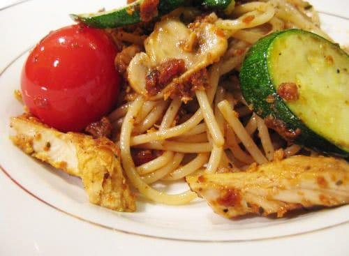 Паста Песто с цукини и грибами - рецепт с фото